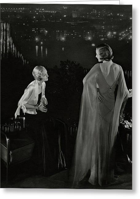 Claire Coulter And Avis Newcomb Wearing Evening Greeting Card by Edward Steichen