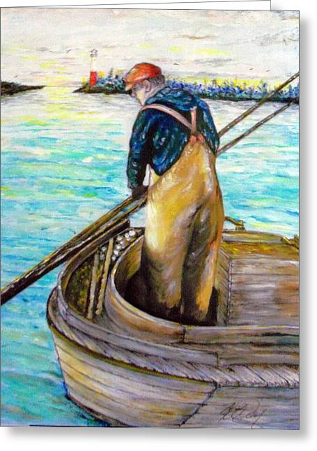 Clam Digger In The Barnegat Bay Greeting Card by Martin Way