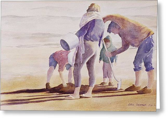 Greeting Card featuring the painting Clam Diggers by John  Svenson