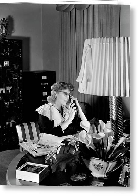 Clare Boothe Luce At Her Desk Greeting Card by Horst P. Horst