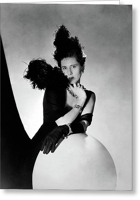 Clare Boothe Luce Wearing Feathers Greeting Card by Horst P. Horst