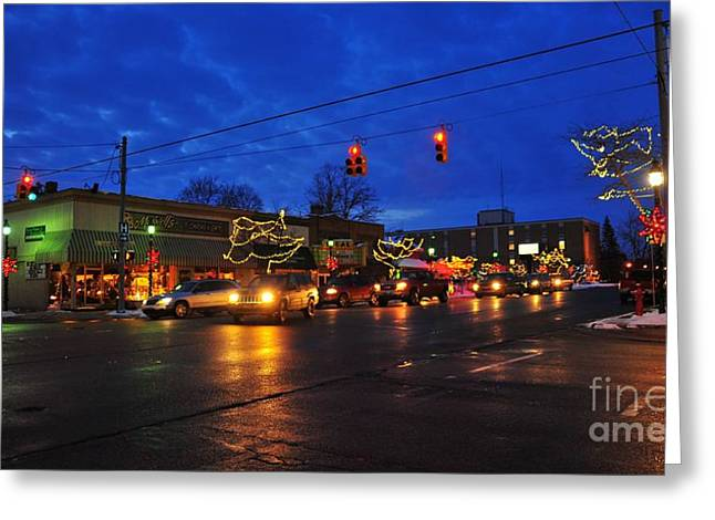 Clare Michigan Decorated For Christmas Greeting Card