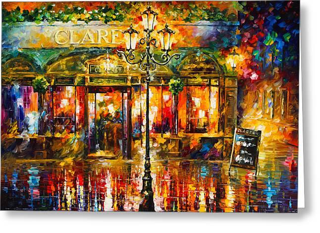 Clarens Misty Cafe Greeting Card by Leonid Afremov
