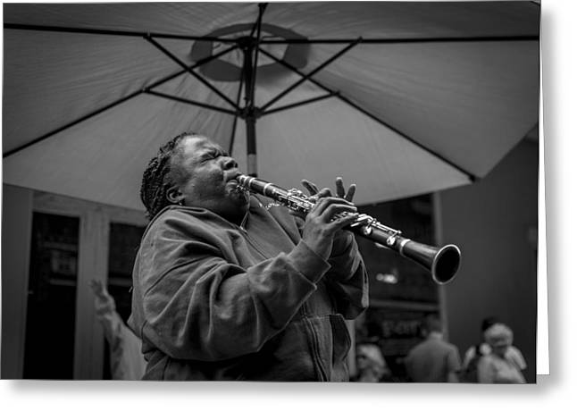 Clarinet Player In New Orleans Greeting Card by David Morefield