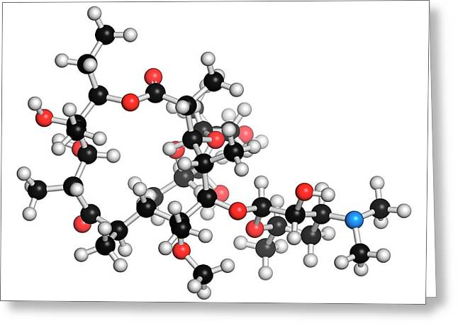 Clarithromycin Antibiotic Molecule Greeting Card by Molekuul