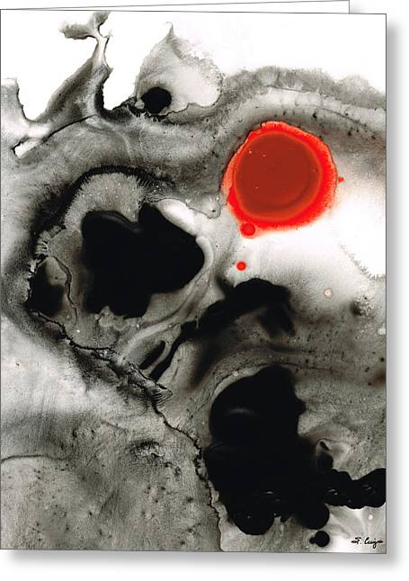 Clarity - Black And White Art Red Painting Greeting Card
