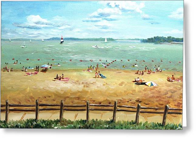 Greeting Card featuring the painting Carlyle Lake Beach In Il by Ping Yan
