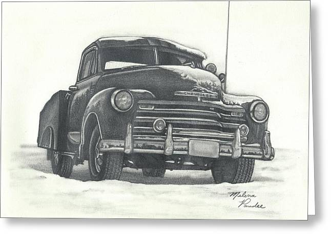 Classic 1950s Chevy Pick-up Truck Greeting Card by Melena Paradee