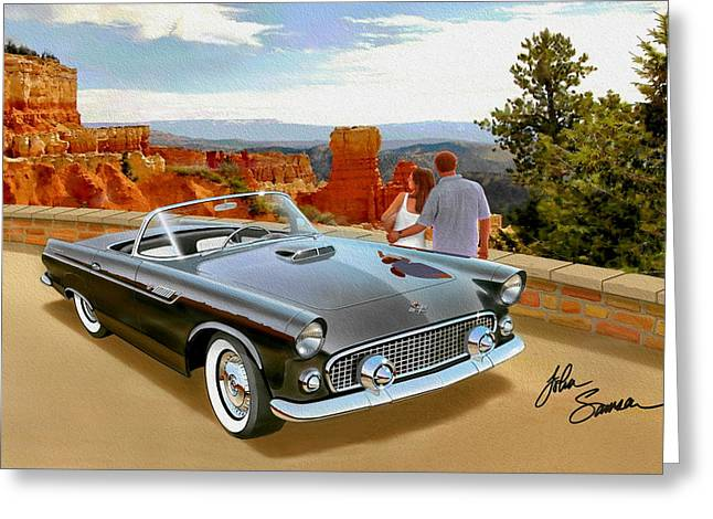 Classic 1955 Thunderbird At Bryce Canyon Black  Greeting Card by John Samsen