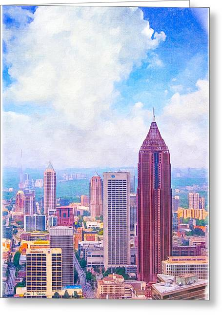 Greeting Card featuring the photograph Classic Atlanta Midtown Skyline by Mark E Tisdale