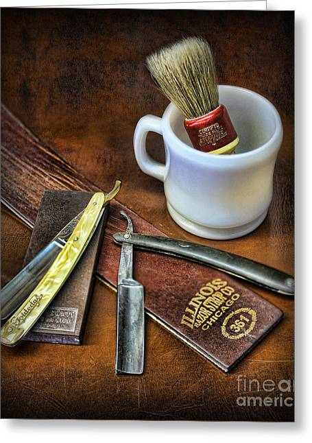 Classic Barber Shop Shave - Barber Shop Greeting Card by Lee Dos Santos