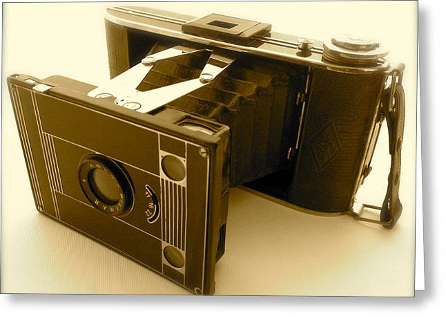 Classic Bellows Folding Camera Greeting Card by John Colley