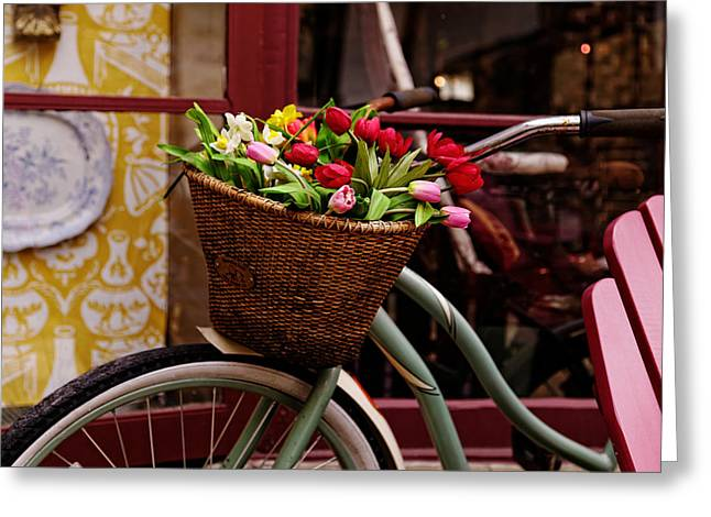 Classic Bike With Tulips Greeting Card