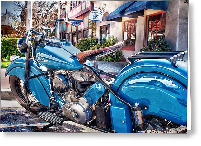 Classic Blue Indian Chief Greeting Card by Steve Benefiel