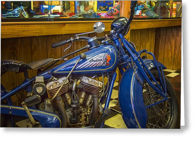 Greeting Card featuring the photograph Classic Blue Indian  by Steve Benefiel