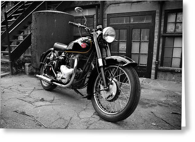 Classic Bsa Motorcycle Greeting Card by Mark Rogan