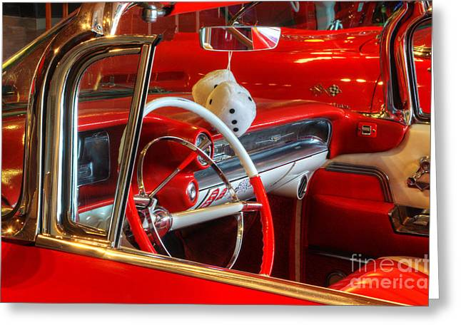 Classic Cadillac Beauty In Red Greeting Card by Bob Christopher