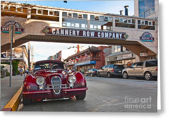 Classic Cannery Row - Monterey California With A Vintage Red Car. Greeting Card
