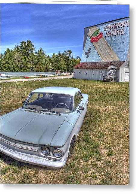Classic Car At The Drive-in Greeting Card by Twenty Two North Photography