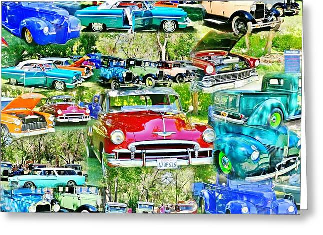 Classic Car Collage Greeting Card