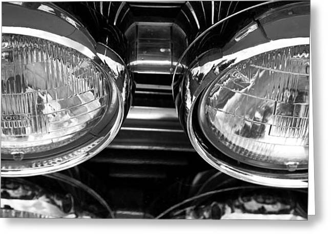 Classic Car Grill And Lights Greeting Card by Mick Flynn