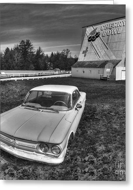 Classic Car In Front Of Cherry Bowl Drive-in Greeting Card by Twenty Two North Photography