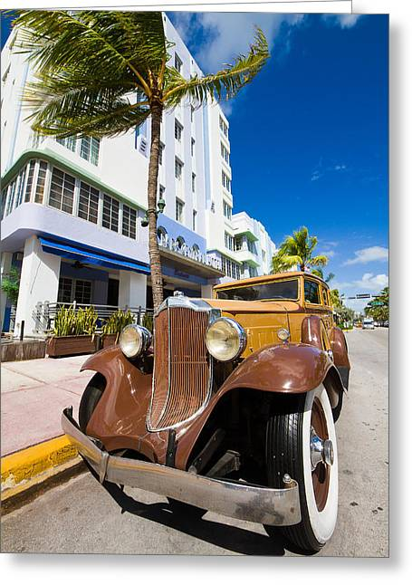 Classic Car Miami Art Deco District Greeting Card by Mr Bennett Kent