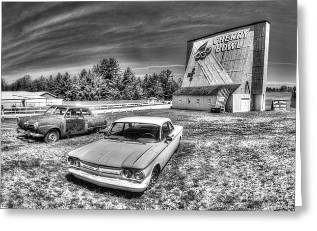Classic Cars At The Drive-in Greeting Card by Twenty Two North Photography
