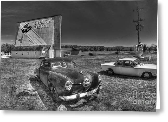 Classic Cars In Front Of Drive-in Greeting Card by Twenty Two North Photography