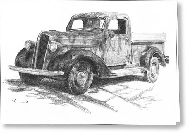 Classic Chevy Truck Pencil Portrait Greeting Card by Mike Theuer