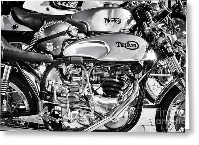 Classic Chrome Cafe Racer Motorcycles Greeting Card by Tim Gainey