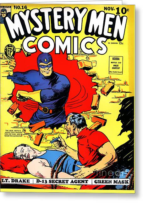 Classic Comic Book Cover - Mystery Men Comics - 1200 Greeting Card by Wingsdomain Art and Photography