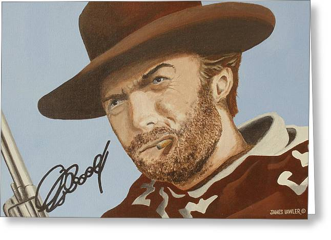 Classic Cool Clint Greeting Card by James Lawler