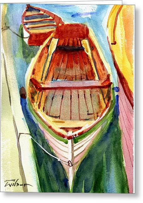 Classic Dinghy - Watercolor Sketch Greeting Card by Ron Wilson
