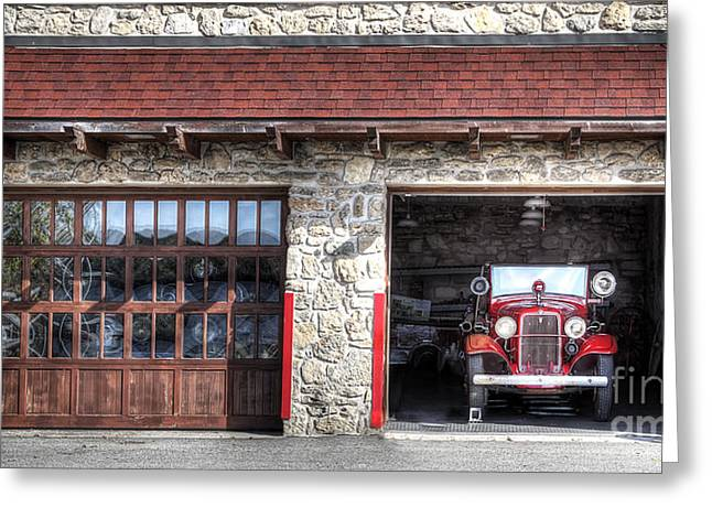 Classic Fire Engine At The Firehouse Greeting Card by Twenty Two North Photography