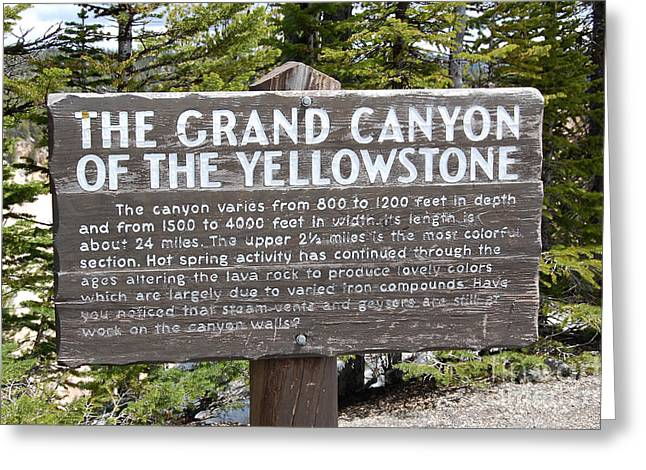 Classic Grand Canyon Of The Yellowstone Sign Yellowstone National Park Greeting Card by Shawn O'Brien