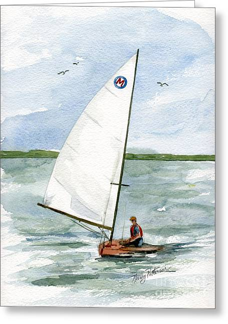 Greeting Card featuring the painting Classic Moth Boat by Nancy Patterson