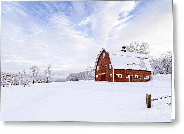 Classic New England Red Barn In Winter Greeting Card by Edward Fielding