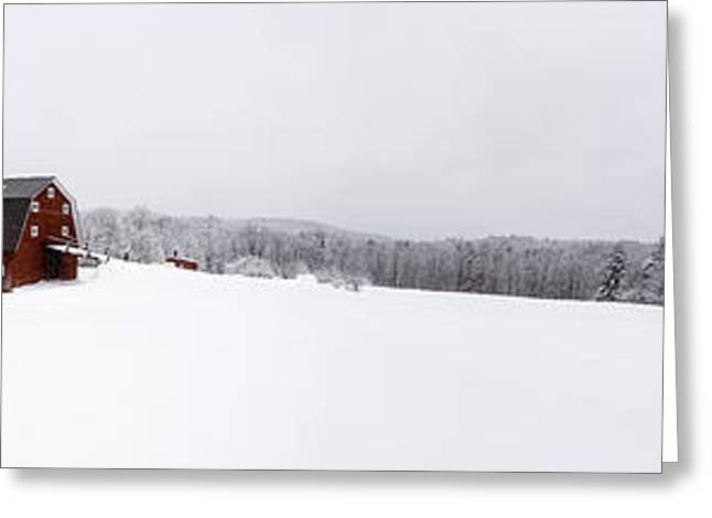 Classic New England Red Barn In Winter Storm Greeting Card by Edward Fielding