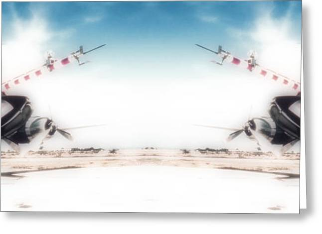 Greeting Card featuring the photograph Propeller Aircraft by R Muirhead Art