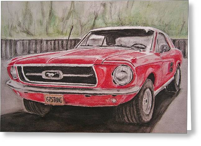 Classic Red Mustang Greeting Card by Michael Penny