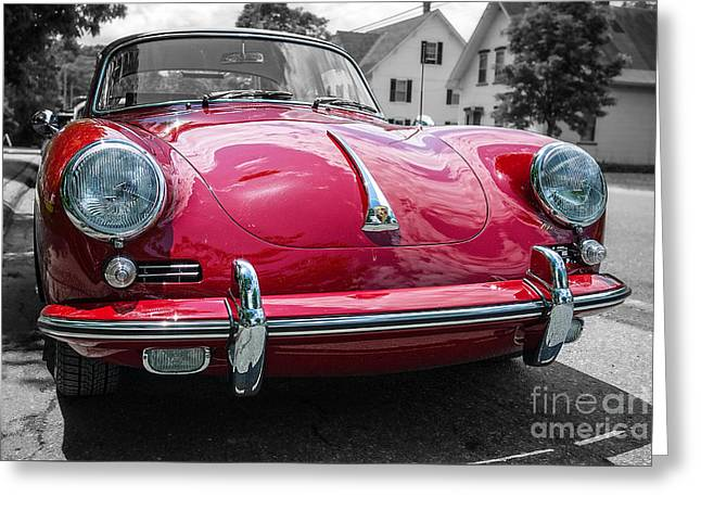 Classic Red Sports Car Greeting Card by Edward Fielding