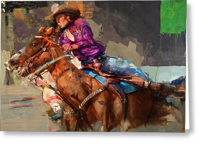 Classic Rodeo 3 Greeting Card by Maryam Mughal
