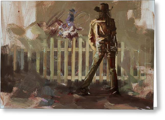 Classic Rodeo 9 Greeting Card by Maryam Mughal