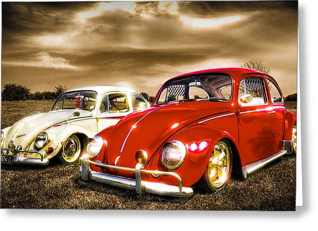 Classic Vw Beetles Greeting Card by Ian Hufton