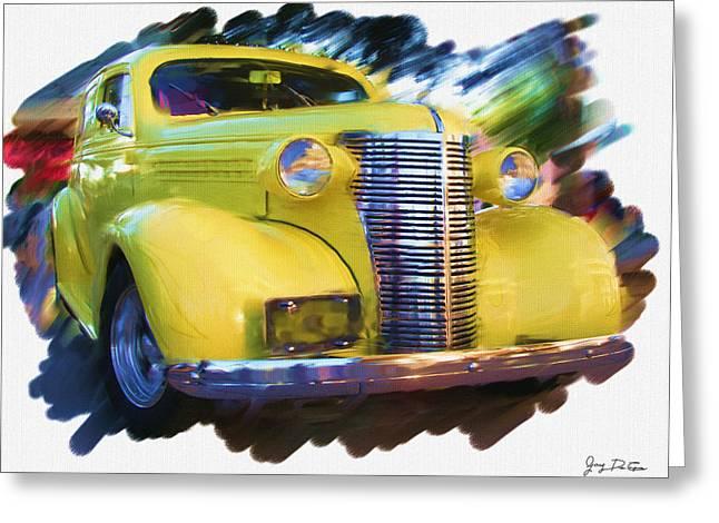 Classic Yellow Car  Greeting Card