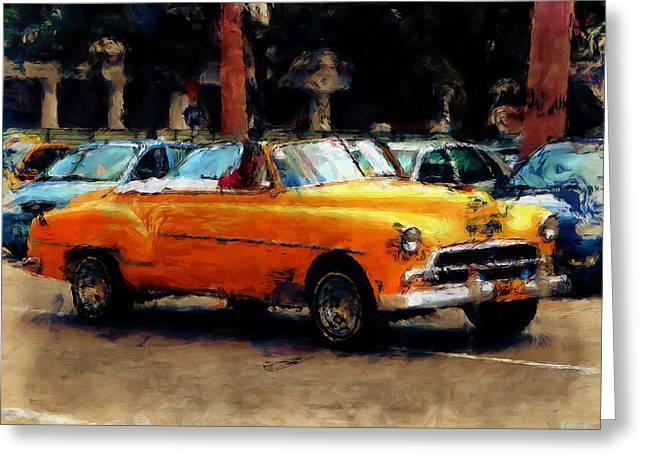 Classic Yellow Havana Greeting Card by Fran Hogan