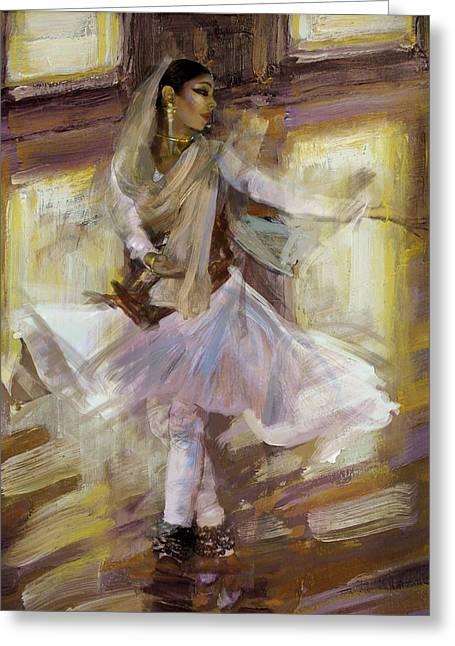 Classical Dance Art 4b Greeting Card by Maryam Mughal