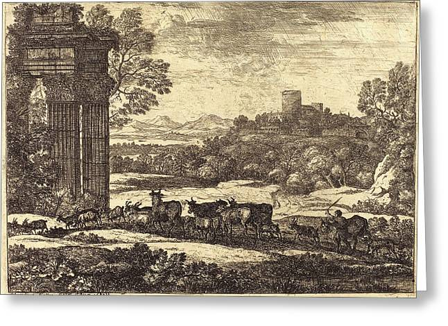 Claude Lorrain, French 1604-1605-1682, The Herd Returning Greeting Card