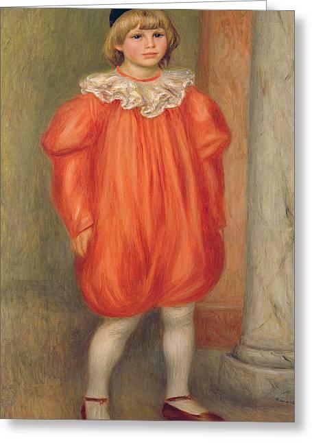 Claude Renoir In A Clown Costume Greeting Card by Pierre Auguste Renoir